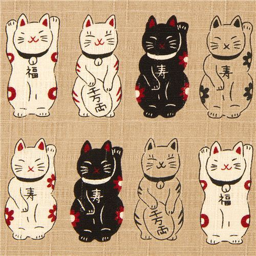 ecru structured Lucky Cats fabric from Japan