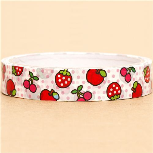 kawaii Sticky Deco Tape with strawberry cherry apple