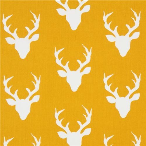 mustard yellow fabric with deer stag animal by Art Gallery Fabrics
