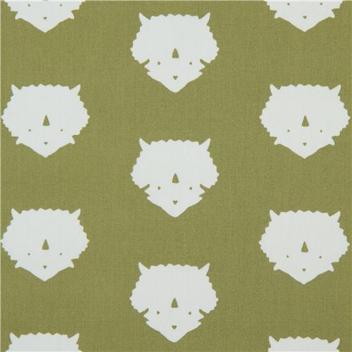 olive green fabric with triceratop dinosaur animal by Art Gallery Fabrics