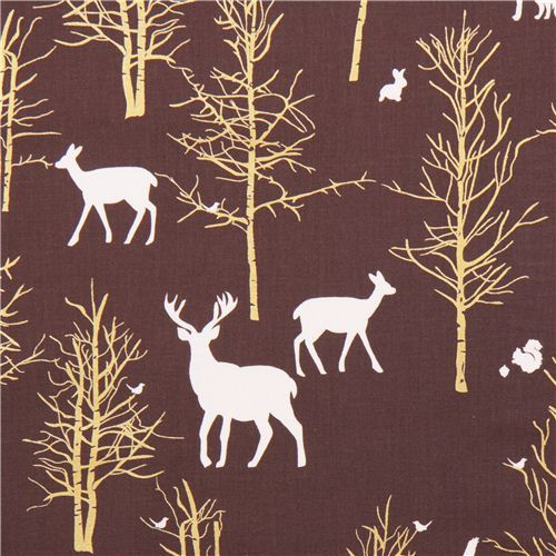 Timber Valley Bark deer forest fabric by Michael Miller