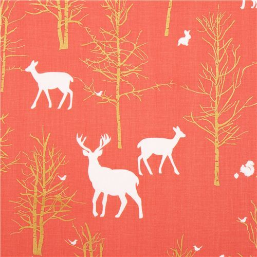 Timber Valley Coral deer forest fabric by Michael Miller