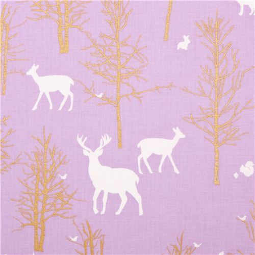 Timber Valley Lilac deer forest fabric by Michael Miller