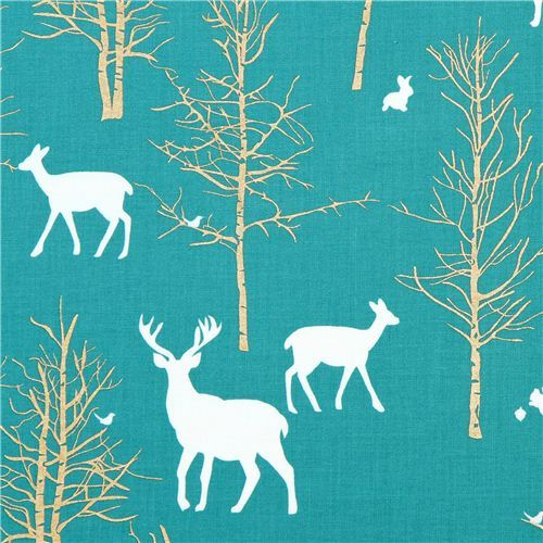 Timber Valley Teal deer forest fabric by Michael Miller