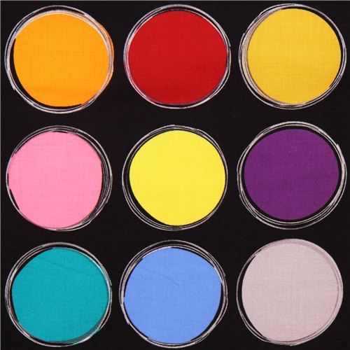 black Paint Lids circle dot fabric Michael Miller