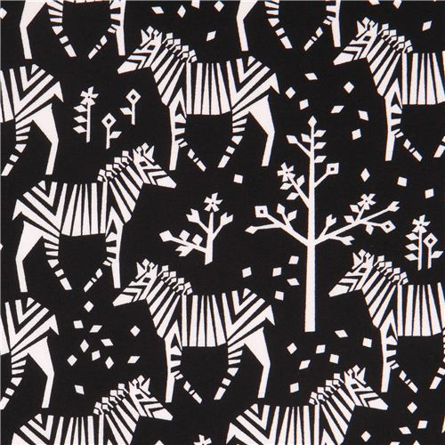 black Origami zebra fabric by Michael Miller USA
