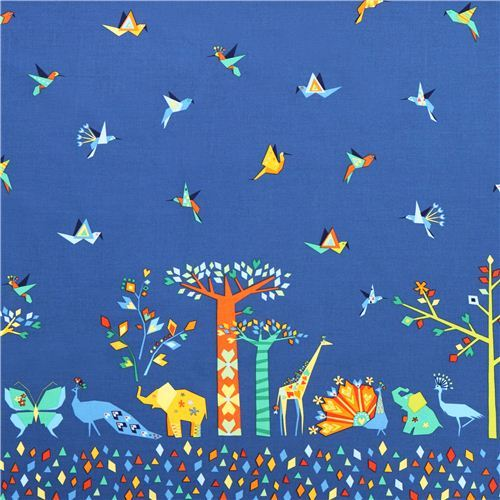 blue Oasis Border animal border fabric Michael Miller Origami Oasis