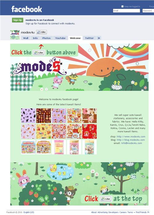 New Facebook Fanpage landing page 1