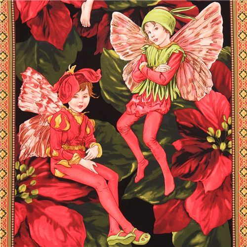 Holiday Fairies Panel fairy tale fabric Michael Miller