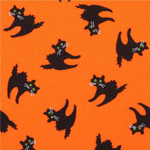 orange cat Halloween fabric Timeless Treasures