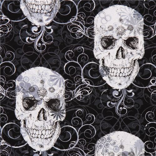 Flourish Skull Metallic skull fabric Timeless Treasures