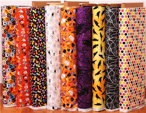 We have new Halloween fabrics from Cosmo, Riley Blake and Northcott
