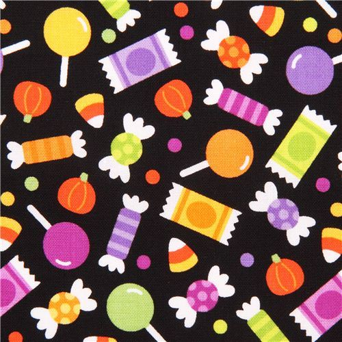 black Riley Blake sweets fabric Halloween Parade