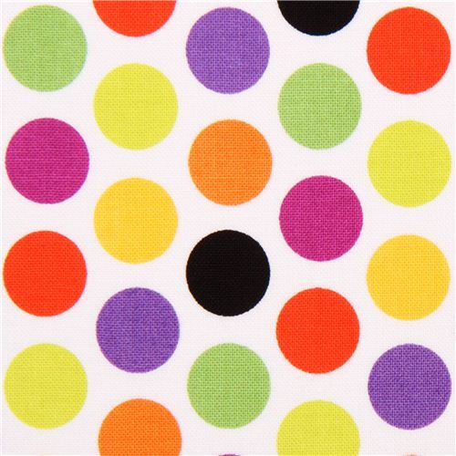 white Riley Blake polka dot fabric Halloween Parade
