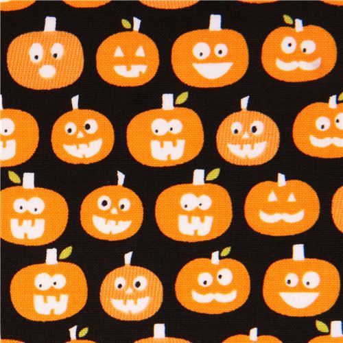 black glow in the dark Riley Blake pumpkin fabric Halloween Magic