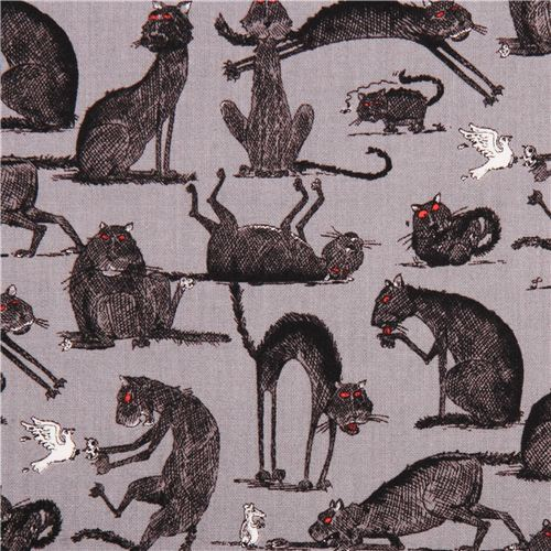 grey The Odditys black cat fabric by Elizabeth's Studio USA