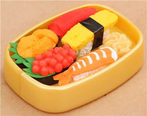 Iwako erasers Delivery Sushi 6 pieces set gold bento box