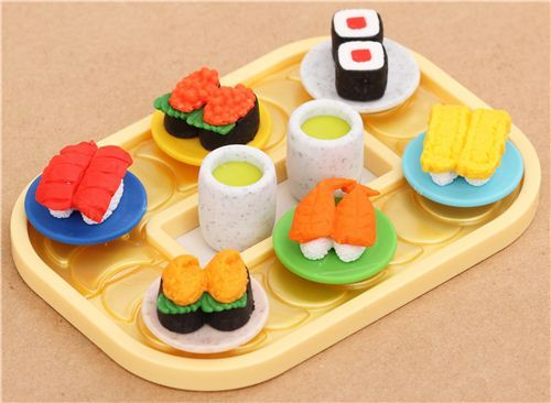 Iwako erasers Sushi train conveyor belt 8 pieces set