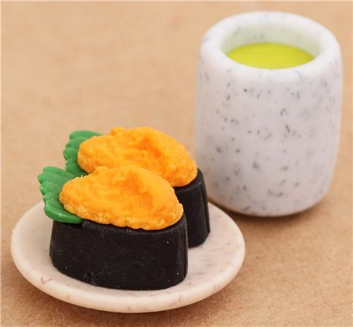 Sea Urchin Sushi Maki green macha Tea eraser from Japan by Iwako