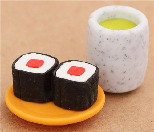 Rolled Sushi green Tea macha eraser from Japan by Iwako