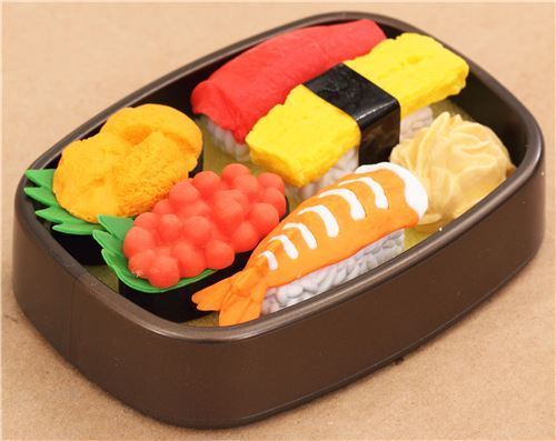 Iwako erasers Delivery Sushi 6 pieces set brown bento box