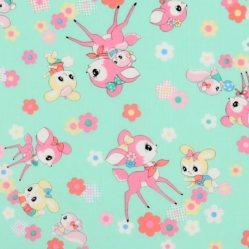 green Japanese fabric deer squirrel bunnies
