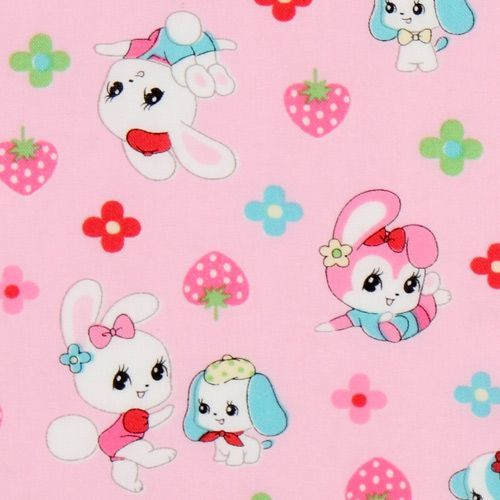 pink Japanese fabric bunny doggy strawberry flowers