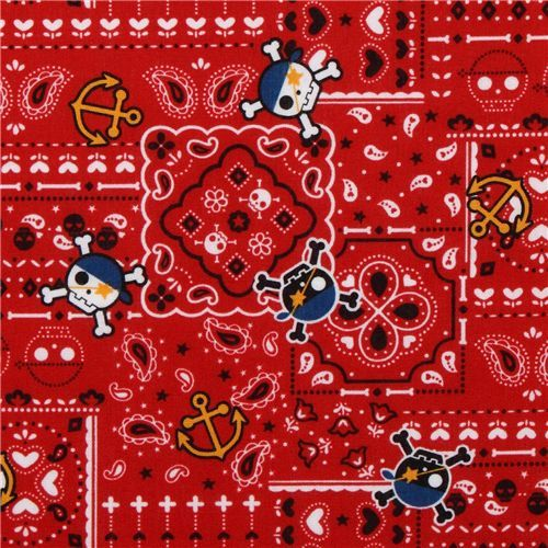 red skull fabric with pirate theme by Kokka Japan