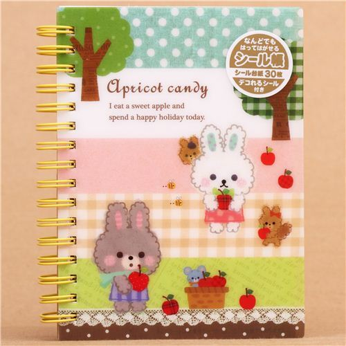 kawaii colorful bunny apple sticker album book