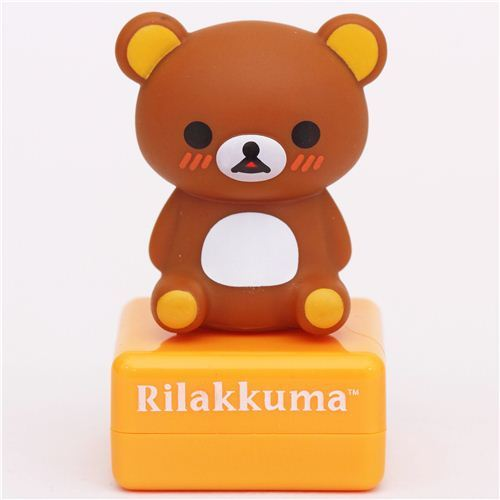 orange Rilakkuma bear with donut stamp by San-X