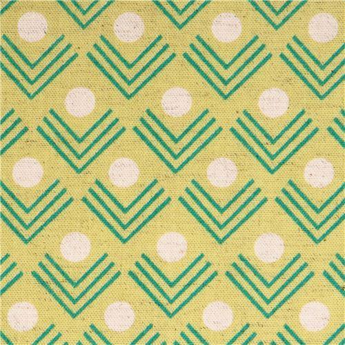 chartreuse corners angle geo Canvas fabric Framework Kokka
