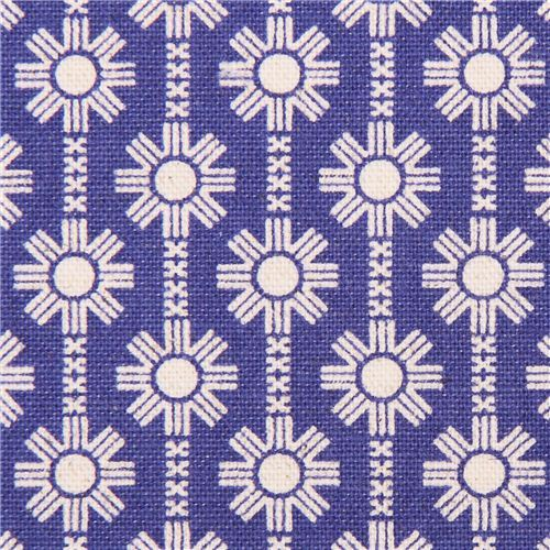 royal blue Daisy Chain flower Canvas fabric Framework Kokka