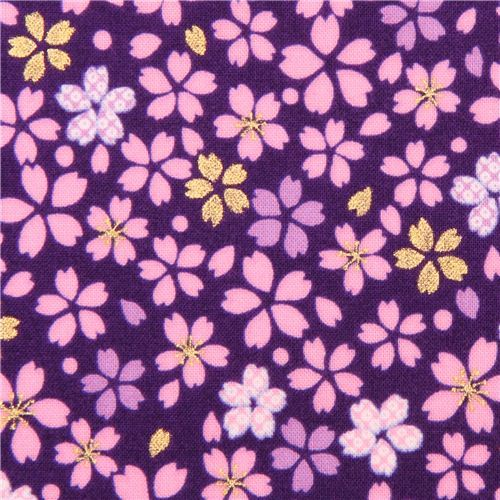 Japanese purple cherry blossom flower fabric by Kokka