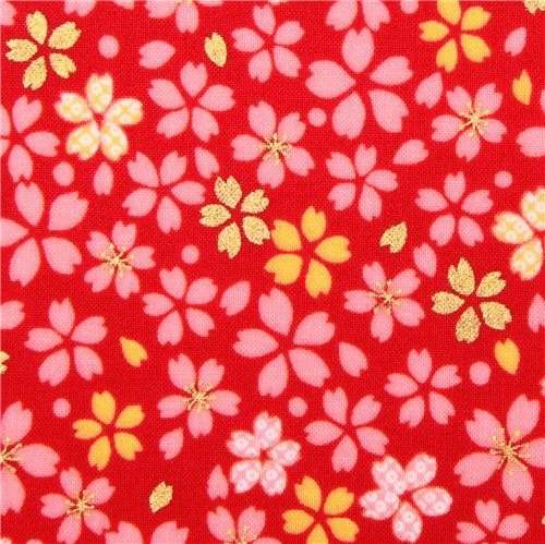 Japanese red cherry blossom flower fabric by Kokka