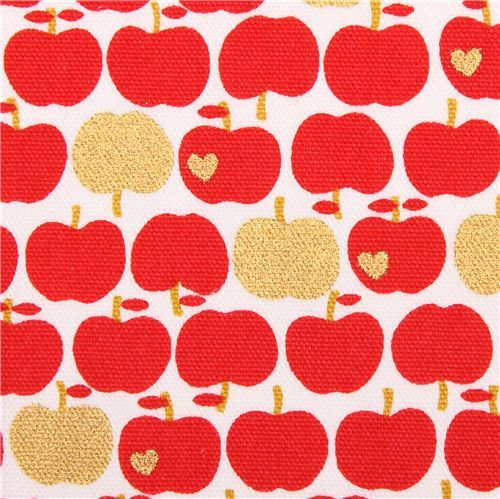 white Kokka oxford fabric red apple with gold metallic