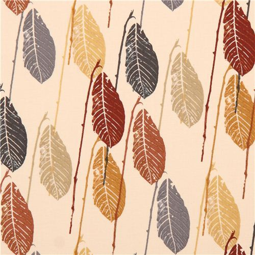 cream colored autumn leaf pattern cotton fabric by Andover USA