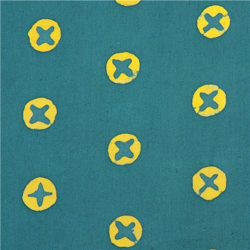 teal blue cross circles cotton fabric by Andover USA