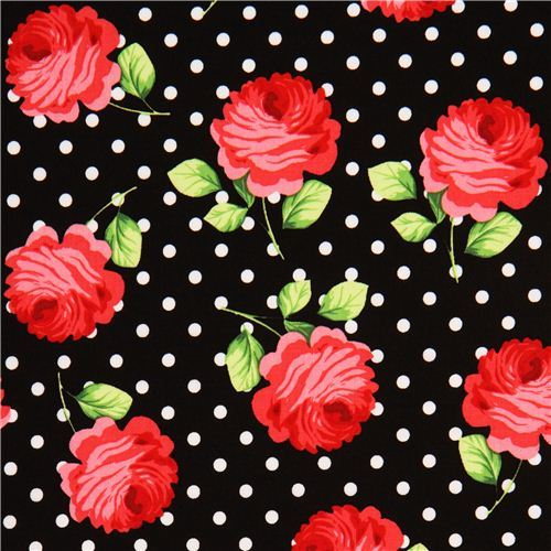 black Michael Miller rose fabric with white dots