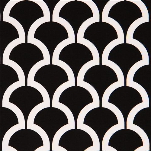 black pattern cotton sateen fabric Michael Miller