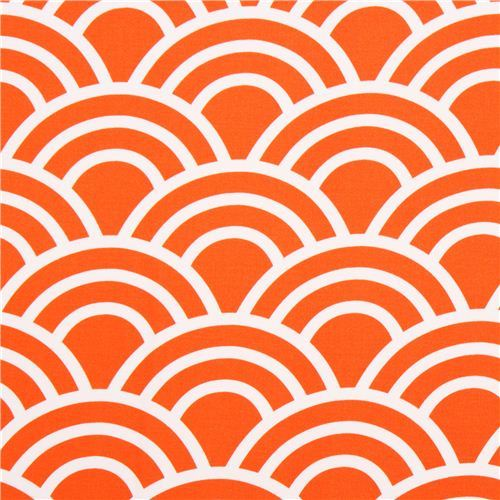 orange wave pattern cotton sateen fabric Michael Miller