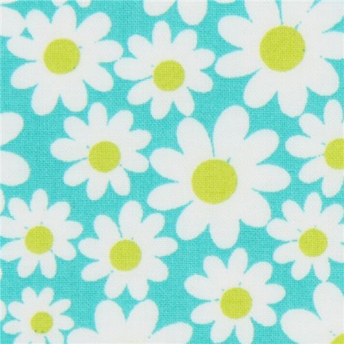 turquoise Michael Miller fabric Petal Flower daisy