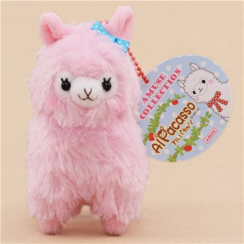 cute pink alpaca blue bow plush toy from Japan