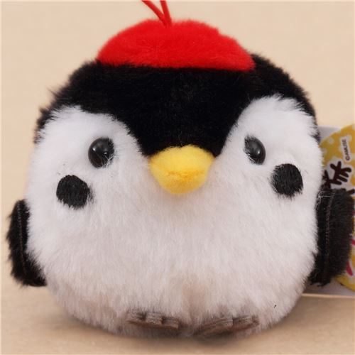 cute small black white red bird plush toy from Japan