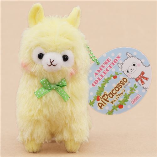 cute yellow alpaca green bow plush toy from Japan