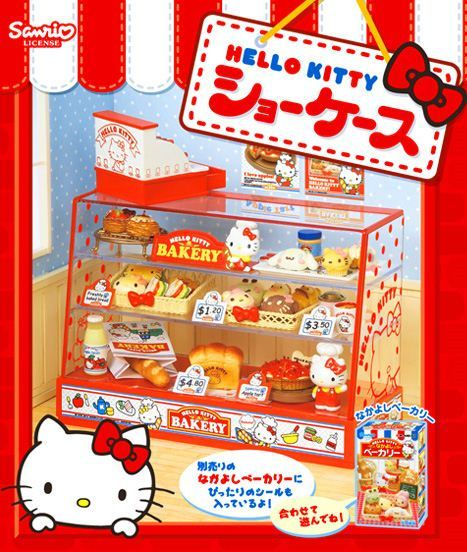 Hello Kitty Re-Ment Showcase Display food Miniature Box
