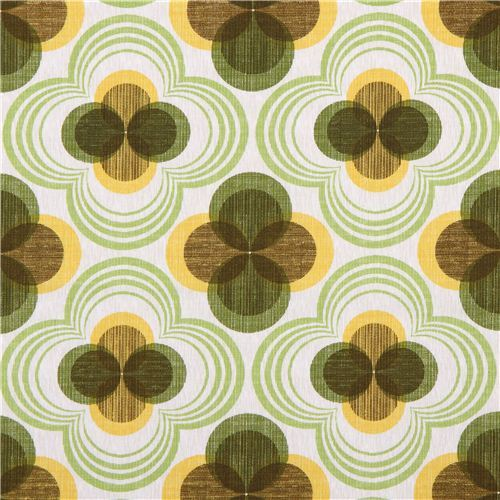 retro flower ornament canvas fabric green Robert Kaufman