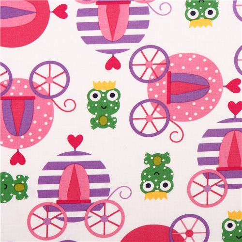 white fairy tale frog prince carriage fabric by Robert Kaufman USA