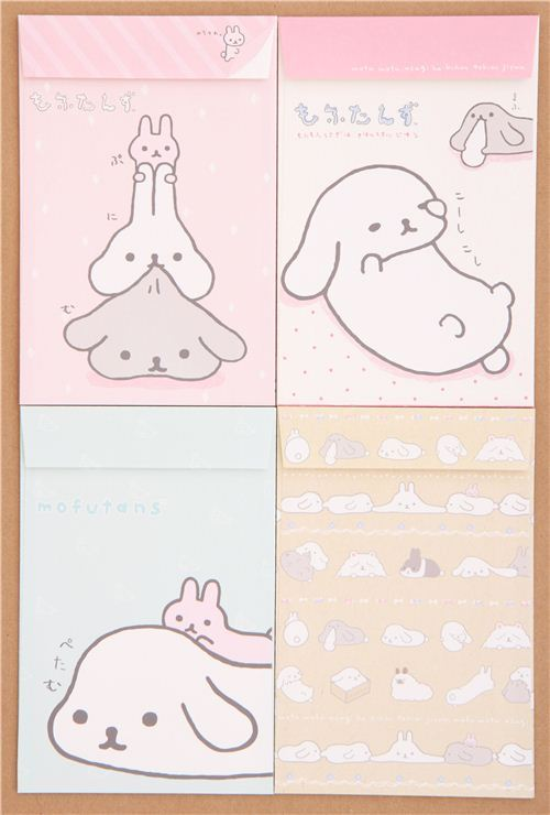 funny Mofutans Mochi rabbits letter paper set from Japan