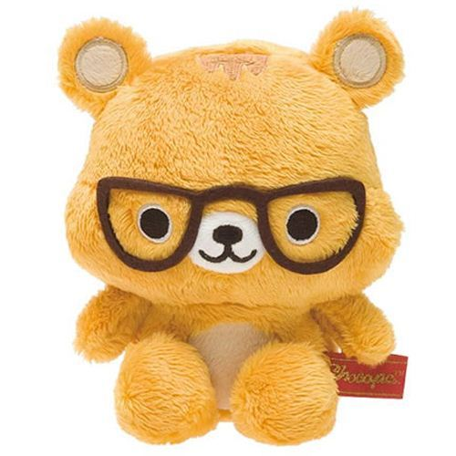 San-X orange Chocopa squirrel with glasses plush toy