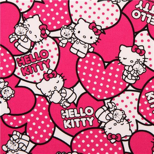 Hello Kitty oxford fabric pink hearts by Sanrio from Japan